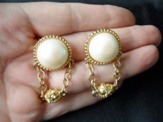 Paolo Faux Pearl Ball and Chain Dangle Clip Earrings, Vintage 1994, Bride, Wedding - $28.00 - Vintage Items and Unique Gifts by Memory Lane