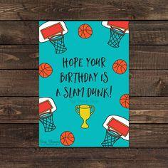 Printable Basketball Birthday Card - Slam Dunk Birthday - Basketball Fan - Instant Download - Digita Basketball Birthday Cards, Birthday Card Design, Colorful Birthday, Turquoise Background, Simple Prints, Slam Dunk, Slammed, Pantone Color, Clip Art
