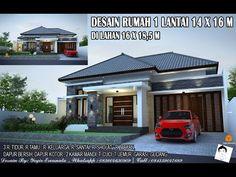 DESAIN RUMAH 1 LANTAI 16X14 M 3 RUANG TIDUR - YouTube Home Room Design, House Design, Exterior Wall Design, Dream Rooms, House Rooms, Bali, Sweet Home, Villa, Interior