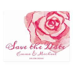 Pink Watercolor Rose | Wedding Save the Date Postcard - postcard post card postcards unique diy cyo customize personalize