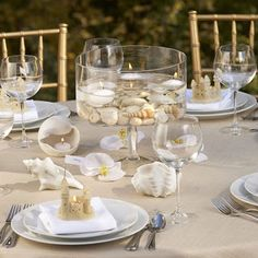 simple shells and sandcastles Beach Wedding Table Centerpieces