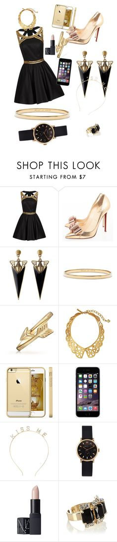 """""""New Year's Eve Outfit"""" by thisisnot-niya ❤ liked on Polyvore featuring Chi Chi, Christian Louboutin, Kate Spade, Bling Jewelry, Oscar de la Renta, Charlotte Russe, Marc by Marc Jacobs, NARS Cosmetics, Coast and women's clothing"""