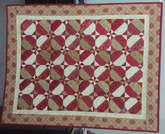 Snowball Variation Block Quilt Wall Hanging or Table Topper in Reds, Tans and Cream Fabric by backporchquilts on Etsy