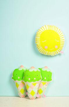 handmade fabric ice cream rattles in green and fabric sun mini pillow in yellow  - by PinkNounou