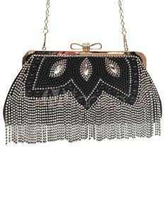 Vintage Wedding Clutches Black Fringe Party Handbags Beading Rhinestone Evening Bags Purse - boutique.milanoo