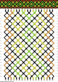 Friendship bracelet  pattern w/ diagram of knots used