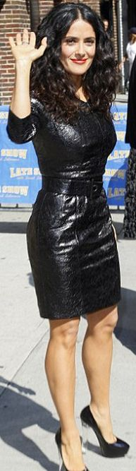 Who made Salma Hayek's black leather dress and black pumps that she wore in New York?