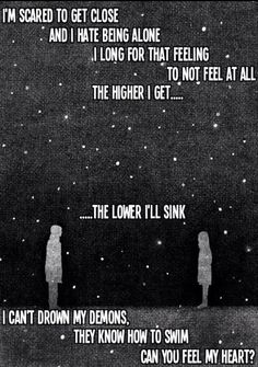 Bring Me The Horizon - Can You Feel My Heart. I can't drown my demons, they know how to swim Band Quotes, Lyric Quotes, True Quotes, Bring Me The Horizon Lyrics, Love Letras, We Will Rock You, A Silent Voice, My Demons, Music Lyrics