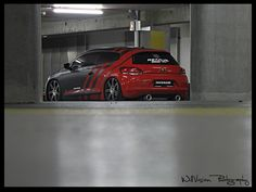 Red and silver car wrap