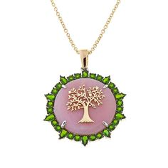 """Fine Jewels by Emily & Ashley Pink Opal and Chrome Diopside Tree Design Goldtone Locket Pendant with 16"""" Chain"""