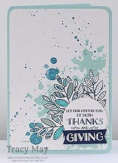 Stampin' Up! Lighthearted Leaves Thanksgiving card by Tracy May; this would make such a nice sentiment for a Thanksgiving card.