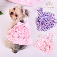 Quality Cute Polka Dot Dog Dresses Summer Pet Dress Yorkie Princess Dress with Satin Bow Lovely Dress For Small Dogs Pet Clothes