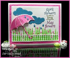 Stamps - April Showers, ODBD Custom Dies: Umbrellas, Cloud and Raindrops, Gilded Gate,  Flourished Star Pattern, Grass Border