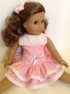 """American Girl 18inch Doll Clothes  Ruffled by HFDollBoutique. 1930's Ruffled Dress"""" was made using an Eden Ava Couture pattern"""