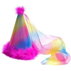 Birthday Party Hat Princess Rainbow Pink Boa Feathers ($6.97) ❤ liked on Polyvore featuring accessories, hats, party feather boas, feather boa, rainbow hat, pink feather boas and birthday hat