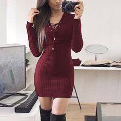 2582d02431c231 2017 Autumn Winter Women Dress Casual Black Gray Long Sleeeve V-Neck Dress  Fashion Sexy Pencil Dresses Vestidos Female Clothing
