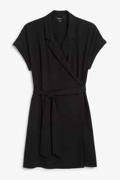 Front image of Monki flowy wrap dress in black How To Make Bows, How To Wear, Flowy Shorts, Monki, Wrap Dress, Short Sleeve Dresses, Dresses For Work, Outfits, Clothes
