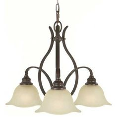 Home Solutions by Feiss Lighting Chandelier with Beige / Cream Glass in Grecian Bronze Finish | F2049/3GBZ | Destination Lighting  $178  24 x 18   300 watt