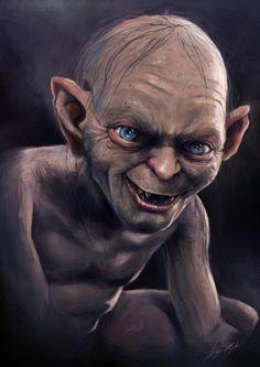 Digital painting - Lord of The Rings by Kontorn Boonyanate, via Behance The Hobbit Gollum, Gollum Smeagol, Hobbit Art, Jrr Tolkien, Celebrity Caricatures, Celebrity Mugshots, Clown Horror, Acrylic Painting Inspiration, Evil Art