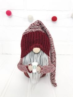 Make Your Own Coffee Gnomes! - Make Your Own Coffee Gnomes! Adorable little Valentine's Day sweater gnome with his cup of coffee! Make your own gnomes with our digital gnome making pattern! Arts And Crafts For Adults, Arts And Crafts House, Easy Arts And Crafts, Crafts For Kids, Diy Crafts, Christmas Gnome, Christmas Crafts, Make Your Own Coffee, Arts And Crafts Interiors