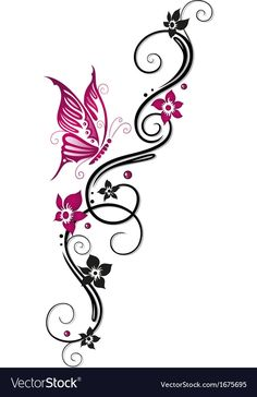 Flowers floral element Royalty Free Vector Image – Famous Last Words Bild Tattoos, Mom Tattoos, Cute Tattoos, Flower Tattoos, Body Art Tattoos, Cool Tribal Tattoos, Butterfly Tattoos For Women, Butterfly Tattoo Designs, Heart Tattoo Designs