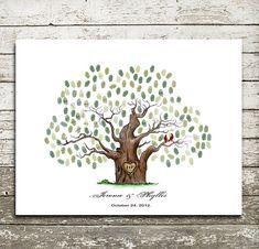 Handgezeichnete Hochzeit Gästebuch Alternative Print.wedding Gast Buch ...Wedding Baum--zu werden individuell mit Gastes Fingerabdrücke - 17 x 22