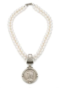 """16"""" double strand white fresh water pearls with antiqued sterling silver-clad FK grande bail, opal cabachon bezel and Ministry medallion - See more at: http://www.frenchkande.com/product-detail.php?g=PD356-Z#sthash.KR5v619P.dpuf"""