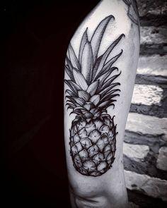 Blackwork Pineapple Tattoo by fetattooer