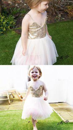 cute flower girl dress, spaghetti straps short flower girl dress, gold sequins short ivory tulle flower girl dress