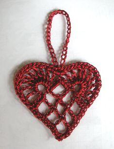 crocheted Scandinavian heart