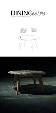 Die 2cm dicke Natursteinplatte erhält durch die sich verjüngende Kante eine gewisse Leichtigkeit und scheint fast zu schweben. Da es sich jeweils um natürliche Produkte handelt, ist jeder Tisch ein Unikat und hat eine ganz eigene Optik. Den Diningtable gibt es mit 120cm und 140cm Durchmesser. Natürlich kann der Tisch auch auf Ihr Wunschmaß gefertigt werden. Stein und Holz sind wählbar und können so auf ihr Interior angepasst werden. Steinmetz, Kante, Design, Furniture, Home Decor, Unique Dining Tables, Levitate, Natural Stones, Products