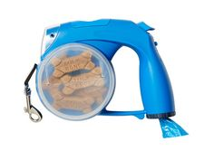 It's the MacGyver of dog leashes, with a bag dispenser, treat holder, water bowl, and flashlight. Leash, $26; fredflare.com