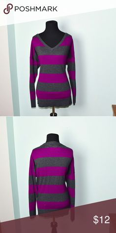 Adorable Purple and Grey Striped Top In excellent condition! Very comfortable, lightweight, and flattering! Buy 3 items and get 1 free plus 15% off your purchase total! Tops