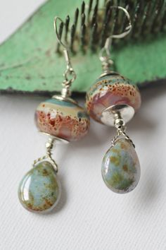 Pink and Green Lampwork Earrings  Artisan by jenniflairjewelry, $40.00