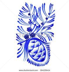 hand drawn illustration in Ukrainian folk style - stock vector