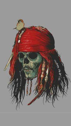 Calavera de Jack Sparow Tattoo Pirate, Capitão Jack Sparrow, Jack Sparrow Drawing, Jack Sparrow Tattoos, Sparrow Art, Pirate Art, Pirate Skull, Pirate Life, Captain Jack