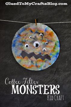Glued to my Crafts: Coffee Filter Monsters {Kid Craft}