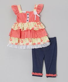 Loving this Pink & Yellow Ruffle Tunic & Jeggings - Infant, Toddler & Girls on #zulily! #zulilyfinds