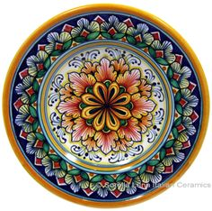 Beautiful Italian pottery hand painted by Marina Mori Pottery Plates, Glazes For Pottery, Ceramic Plates, Ceramic Pottery, Decorative Plates, Pottery Painting, Ceramic Painting, Ceramic Art, Plates On Wall