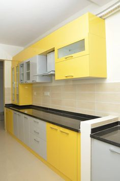 Parallel kitchen layout asian style kitchen by homify asian plywood Parallel Kitchen Design, 3d Kitchen Design, Kitchen Cupboard Designs, Kitchen Cabinet Styles, Kitchen Layout, Kitchen Ideas, Kitchen Units, Kitchen Decor, Yellow Kitchen Designs