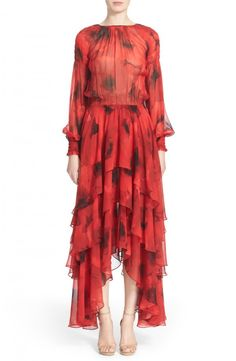 6cfe4606076 Michael Kors Michaels Kors Poppy Print Tiered Silk Peasant Dress available  at