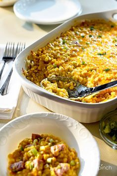 Game Day Cheddar Corn Casserole! Made with even more cheese and ham to take this classic side to a one-dish, weeknight win!