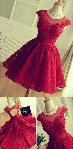 Red Lace Bridesmaid dress,Short Lace Prom Dress,Red Cocktail Dress,Cap Sleeves Formal Party Dress,Red Lace Homecoming Dresses by DestinyDress, $166.73 USD