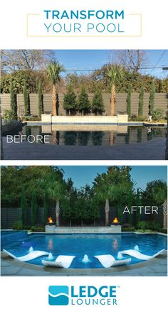 Transform your pool with Ledge Lounger furniture and accessories, designed for in-pool use on your pool's tanning ledge.