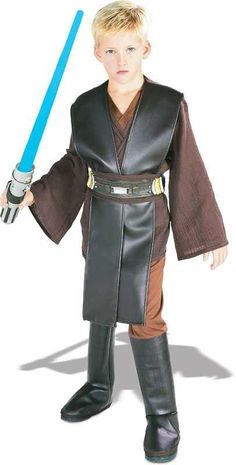 #882017 Battle the Dark Side with the force this Halloween as Star Wars Deluxe Anakin Skywalker. The Costume includes a knee length, faux leather, black tunic with attached brown shirt and brown pants