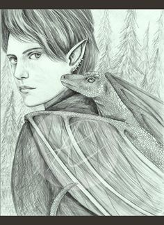 Elf with dragon hound sketch