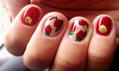 Vintage red roses nails nail art essie bordeaux nail jewels studs circle