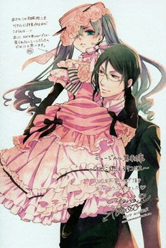 Anime boys, , Ciel Phantomhive, , Sebastian Michaels, , Kuroshitsuji, , Black Butler, , pink dress, , pigtails, , glasses, , by Yana Toboso
