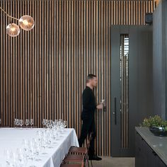 Silvertop Ash battens and decking at Levantine Hill Estate Winery fit out, Yarra Valley, Melbourne. Design & Architecture: Molecule & Fender Katsalidis Architects. Build: Krongold Constructions. Timber: Timber Revival.