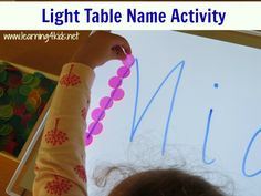 List of super fun name activities - light table with counters Preschool Names, Spelling Activities, Preschool Literacy, Writing Activities, Educational Activities, Activities For Kids, Crafts For Kids, Sensory Activities, Kindergarten Language Arts